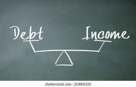 income and debt balance sign