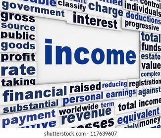 Income financial poster design. Revenue message background