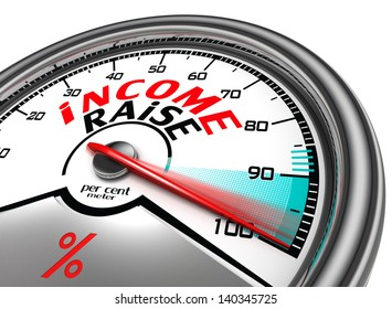 income raise conceptual meter, isolated on white background