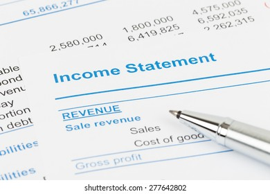 Income statement in stockholder report book; document are mock-up