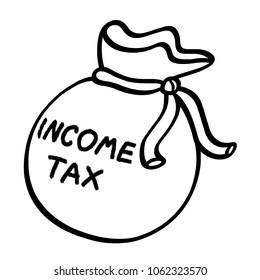 Income tax money sack black and white illustration; Money bag illustration