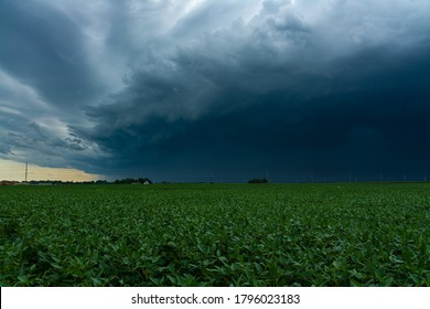 Incoming Derecho moments before it hits small town in the Midwest.  August 10th, 2020.  Peru, Illinois, USA - Shutterstock ID 1796023183