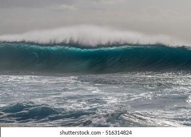 Incoming Ocean wave, Ehukai beach park also known as Banzai Pipeline in April of 2014