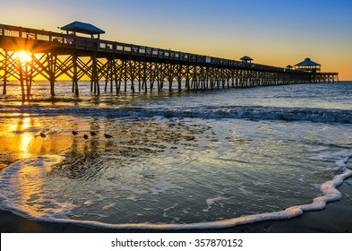 Incoming tide at Folly Beach Pier in Charleston SC