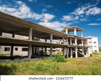 Incomplete and abandoned construction of typical caribbean building, nobody
