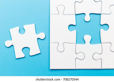 Incomplete jigsaw puzzle, business concept for completing the final puzzle piece
