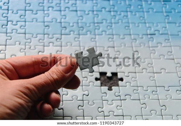 Incomplete Jigsaw Puzzles Last Piece One Stock Photo (Edit