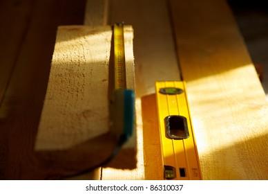 incomplete wooden floor in the building