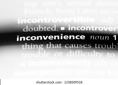 inconvenience word in a dictionary. inconvenience concept.