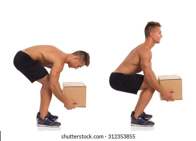 Incorrect And Correct Posture While Lifting Weight. Young fit man showing how to pick up a heavy carton box. Side view. Full length studio shot isolated on white.