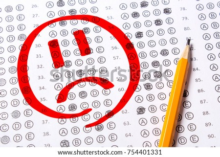 Incorrect Negatively Passed Test Sad Face Blank Multiple Choice Answer Sheet Filled With Pencil