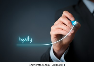 Increase customer or employee loyalty. Businessman draw growing line symbolize growing loyalty.