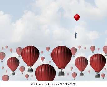 Increase efficiency and improve performance business concept as a businessman holding a balloon leading the race to the top against a group of slow hot air balloons using a low cost winning strategy.