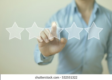 Increase rating review evaluation concept with five stars
