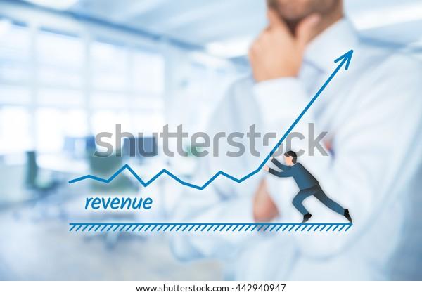 Increase revenue concept. Businessman accelerate revenue growth.