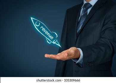 Increase revenue concept. Businessman help to speedily increase revenue. Spaceship representing dynamic growth.