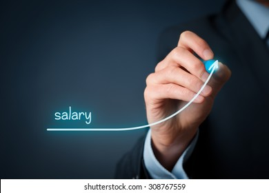 Increase salary concept. Chief Financial Officer (human resources officer) plan salary growth represented by graph.