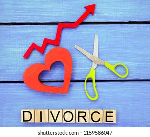 """increased divorce rates. problems of the modern age. the inscription """"divorce"""" and the red up arrow. scissors cut heart. breaking relations, quarrels. treachery, betrayal. cancellation of marriage"""