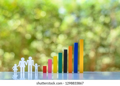 Increasing birth rate / fertility rate and population control concept : Family members with children and rising color bar graph on a table, depicts lifestyle choice associated with economic affluence