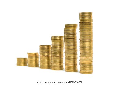 Increasing columns of coins, step of stacks coin isolated on white background with copy space for business and financial concept idea.