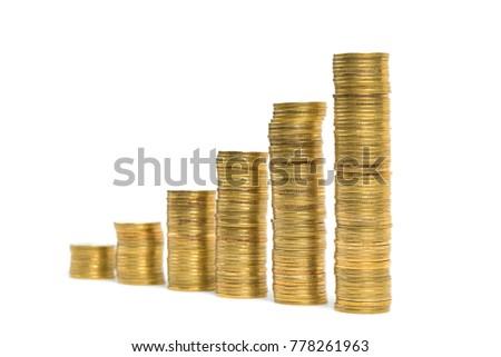 Increasing Columns Coins Step Stacks Coin Stock Photo Edit
