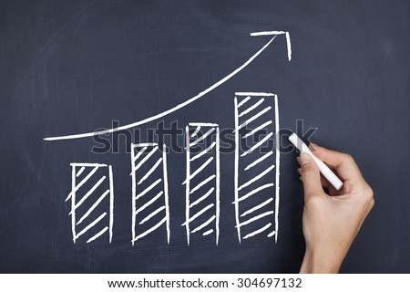 Increasing graph bars / Growth moving up development financial increase sales concept background