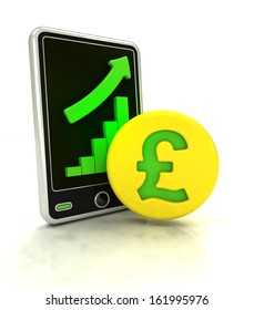 increasing graph stats of pound currency business on smart phone display  illustration