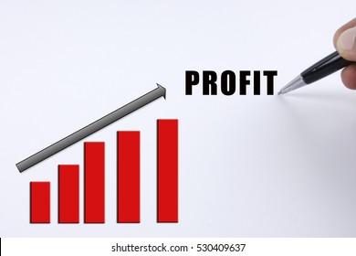 Increasing trending for business concept with PROFIT word.
