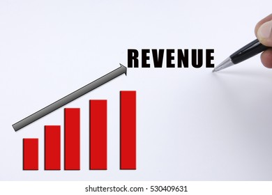 Increasing trending for business concept with REVENUE word.