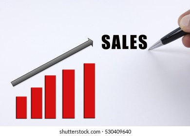 Increasing trending for business concept with SALES word.