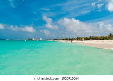"""incredible beach with white sand and turquoise water in the Caribbean sea on the island of Aruba """"Eagle beach"""""""