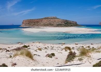 Incredible blue colors of the Balos lagoon, the most wild and photogenic beach of Crete, Greece