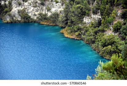 The incredible Blue Lake at Mt Gambier, South Australia. The Blue Lake is a large monomictic crater lake located in a dormant volcanic maar associated with the Mount Gambier maar complex.