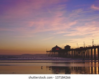 Incredible colors of the sunset by the Huntington Beach Pier, CA