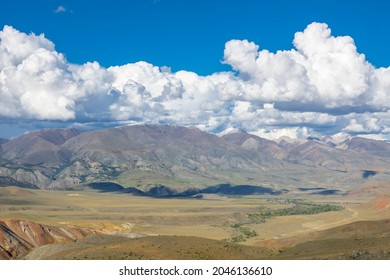 Incredible cosmic colorful mountain nature (locals call this place Martian planet landscapes) of the Kyzyl-Chil valley along Chuisky tract, Altai Republic, Russia