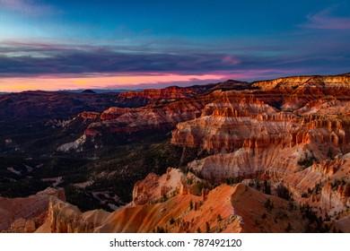Incredible dramatic sunset over Cedar Breaks National Monument in Utah.