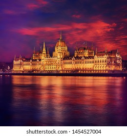 Incredible Evening View of Budapest parliament at sunset, Hungary. Wonderful Cityscape with Colorful sky. Popular travel destination and best place for photographers. Instagram Style. Creative image