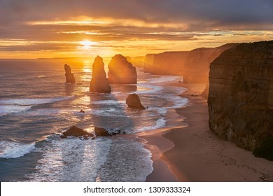 Incredible evening view.  Dramatic summer sunset on the great ocean road. Twelve Apostles scenic coastal view at Castle Rock in pacific ocean in Victoria, Australia
