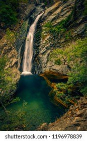 Incredible high waterfall falling through the cliffs on Fonias river on Samothrace island in Greece in abeautiful natural landscape