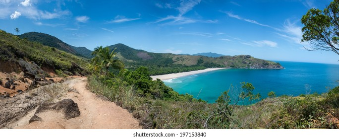 Incredible Huge Panoramic View of Bonete Beach at Ilhabela Sao Paulo island.  Tropical Paradise, South America.