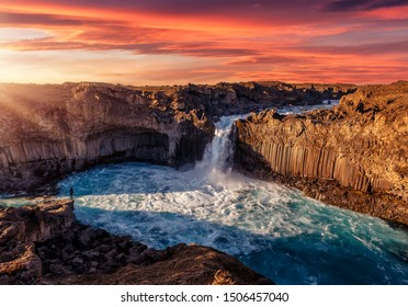 The Incredible landscape of Aldeyjarfoss waterfall  in North-Iceland with colorful sky during sunset. Amazing nature landscape of Iceland. Iconic location for landscape photographers. Creative Image