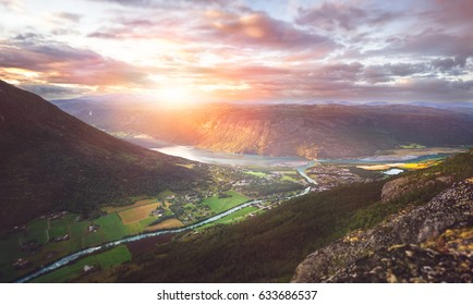 Incredible landscape with a beautiful sunset in Norway.
