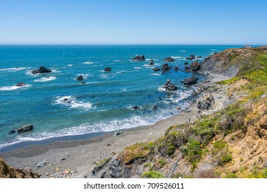 Incredible landscape of the coast. Beautiful blue sea. The waves rolled ashore and breaking on the rocks. Sonoma Coast State Park, California, USA