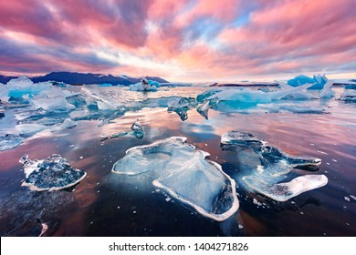 Incredible landscape with icebergs in Jokulsarlon glacial lagoon. Vatnajokull National Park, southeast Iceland, Europe.