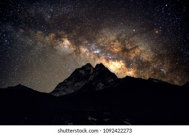 incredible milky way  with ama dablam mountain everest region nepal