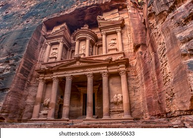incredible and mystical look at the Al Khazneh tomb. The Treasury tomb of Petra, Jordan - Image, selective focus