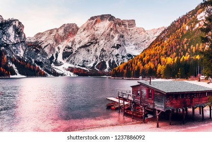 Incredible Nature Landscape. Braies Lake in Dolomites mountains, Italy. Lake Braies is also known as Lago di Braies. Popular travel and hiking destination. Creative image. Instagam filter.