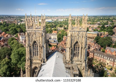 Incredible panoramic view of the city of York and the rooftop and spires of York Minster Cathedral In Yorkshire, England UK.
