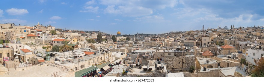 Incredible panoramic wide view inside the old city of Jerusalem High Definition