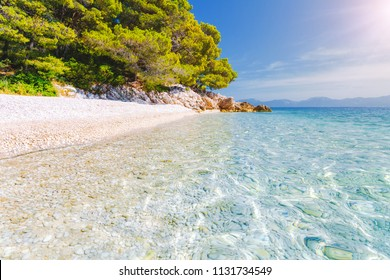 Incredible place of the calm Adriatic Sea. Location Makarska riviera, Croatia, Dalmatia region, Balkans, Europe. Scenic image of most popular european travel destination. Discover the beauty of earth.